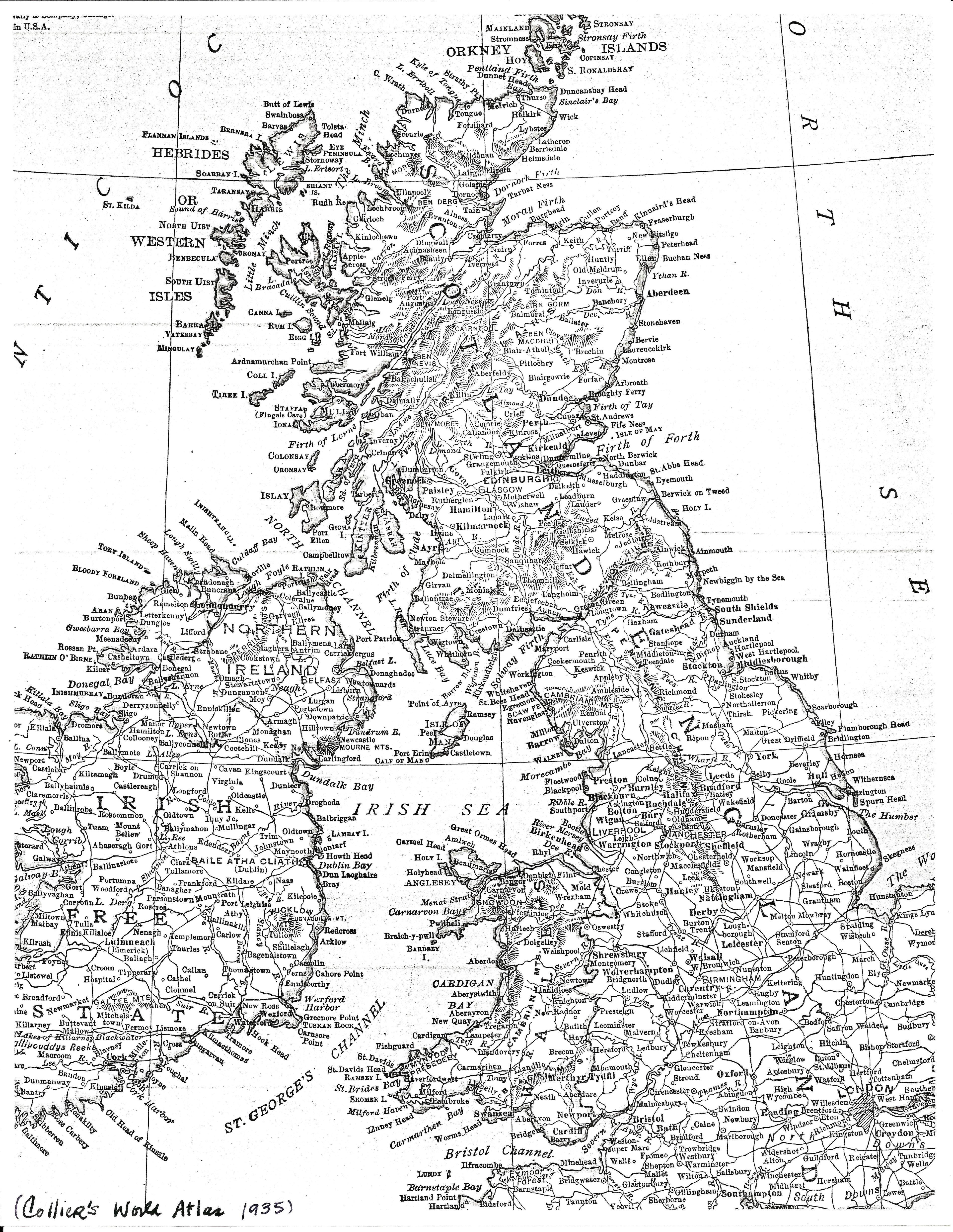 British Isles and the Irish Sea–a Comparison Map